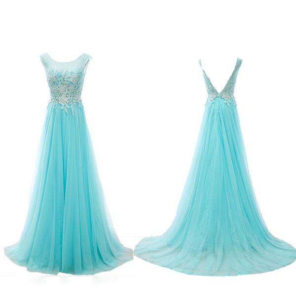Long prom dress, blue prom dress, tulle prom dress, off shoulder prom dress, lace prom dress, formal prom dress, inexpensive prom dress, modest prom dress, PD13081