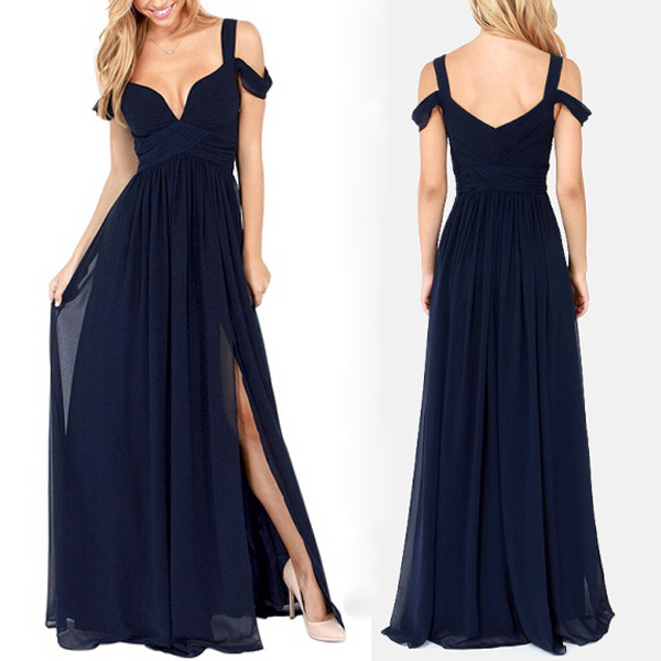 long bridesmaid dress, navy blue bridesmaid dress, popular bridesmaid dress, chiffon bridesmaid dress, affordable bridesmaid dress, BD0118