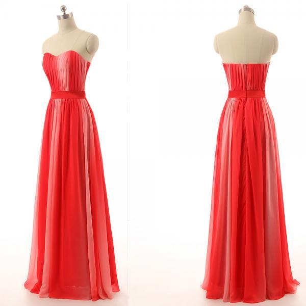 long bridesmaid dress, red bridesmaid dress, popular bridesmaid dress, chiffon bridesmaid dress, affordable bridesmaid dress, BD0119