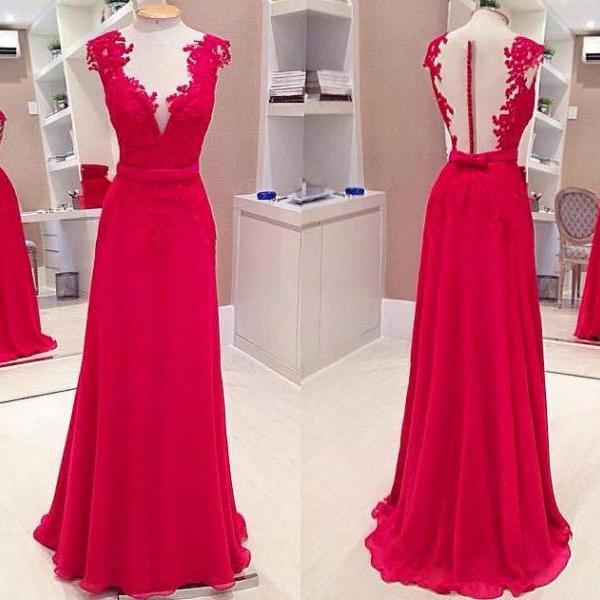 Long prom dress, red prom dress, see through back prom dress, lace prom dresses, juniors prom dress, prom dress 2016, cheap prom dress, formal prom dress, v-neck prom dress, PD125143