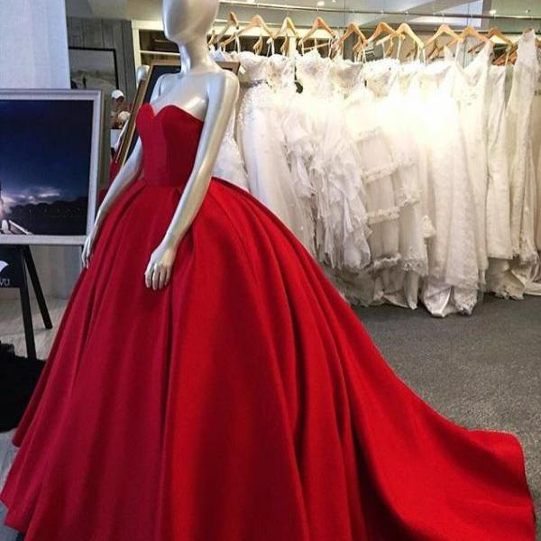 Red ball gown, sweet heart prom dress, simple charming prom dress, evening gown, long prom dress with small train, satin strapless prom dress, long prom dress, 155240