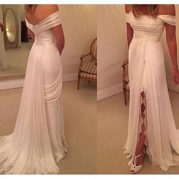 Sexy white prom dress, side split lace prom dress, cheap simple wedding dress, 2016 unique prom dress, evening dress, wedding dress, long prom dress, 155241